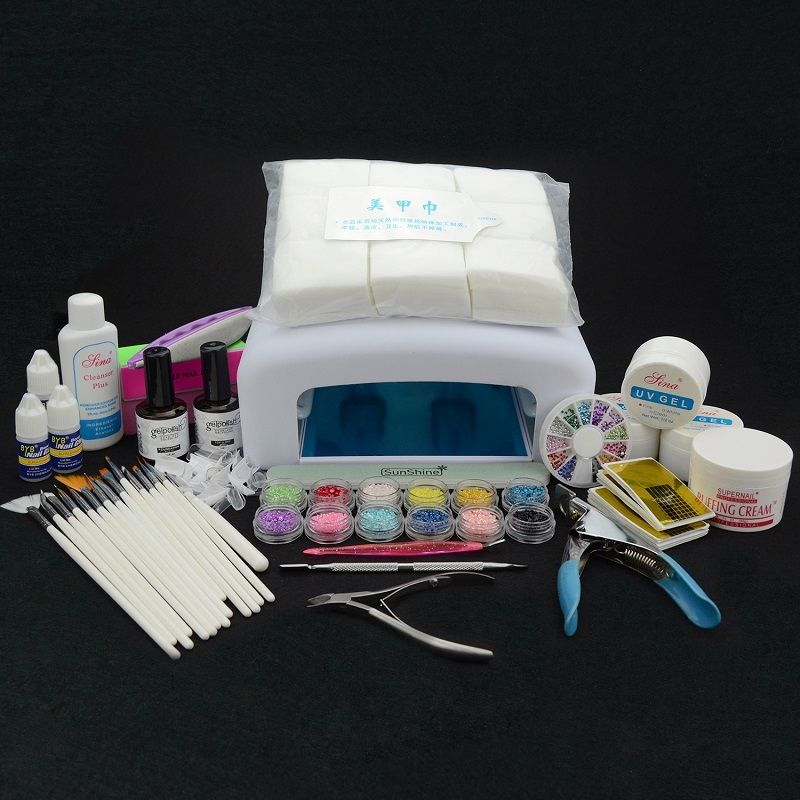ФОТО Elite99 36W Lamp Manicure Set French Tips Glue Buffer Block Tips Colored Acrylic Powder Deco Tools with UV Gel 36W Lamp