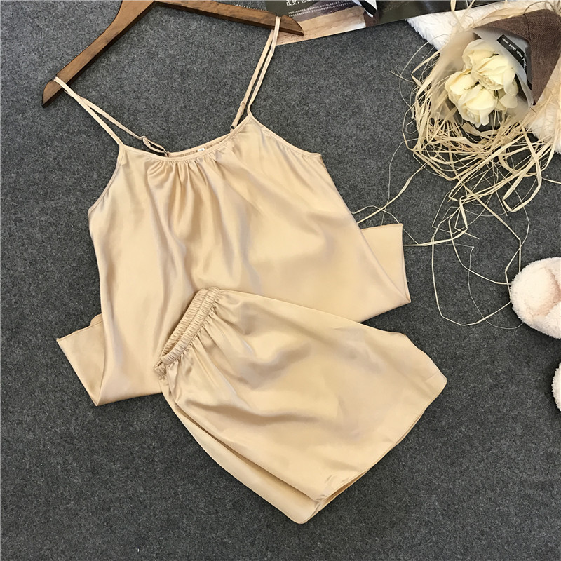 Freshing Summer Rayon Sexy Woman Summer Round Neck   Pajama     Set   Shorts Two Paper Suit Rayon Female   Pajamas