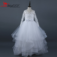 Real Photo 2017 Flower Girl Dress Cheap White Ivory Appliques Lace Ball Gown Princess Pageant First