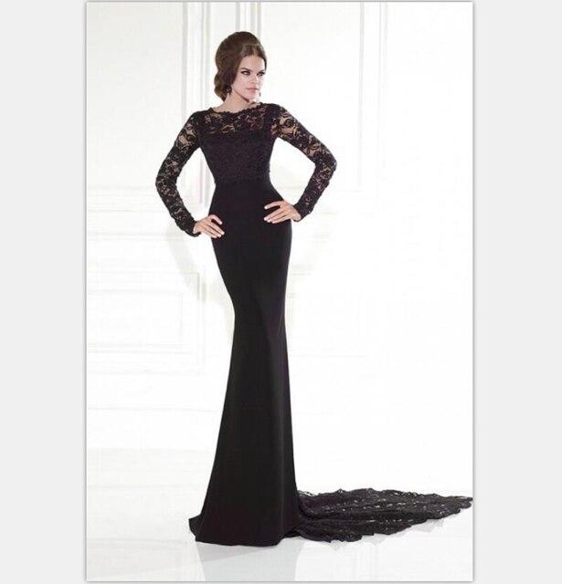 Long Sleeve Evening Dress 2015 Summer Style Black Prom Dresses Vestidos Sheer Evening Gowns Mermaid Style Vintage Formal Gowns-in Evening Dresses from ...