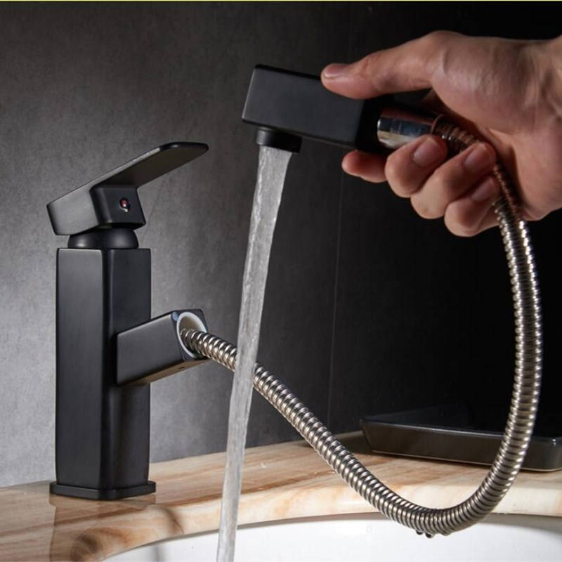 Basin Faucets Hot and Cold black Bathroom Sink Tap Pull Out Swivel Single Handle Sink Faucet Brass Wash Basin Mixer Tap