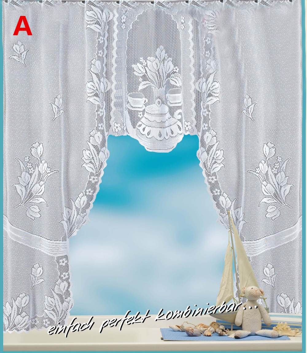Enipate European White Translucent Coffee Curtain Warp Knitted Curtains Kitchen Tulle Lace Sheer Jacquard Curtains 120x105cm