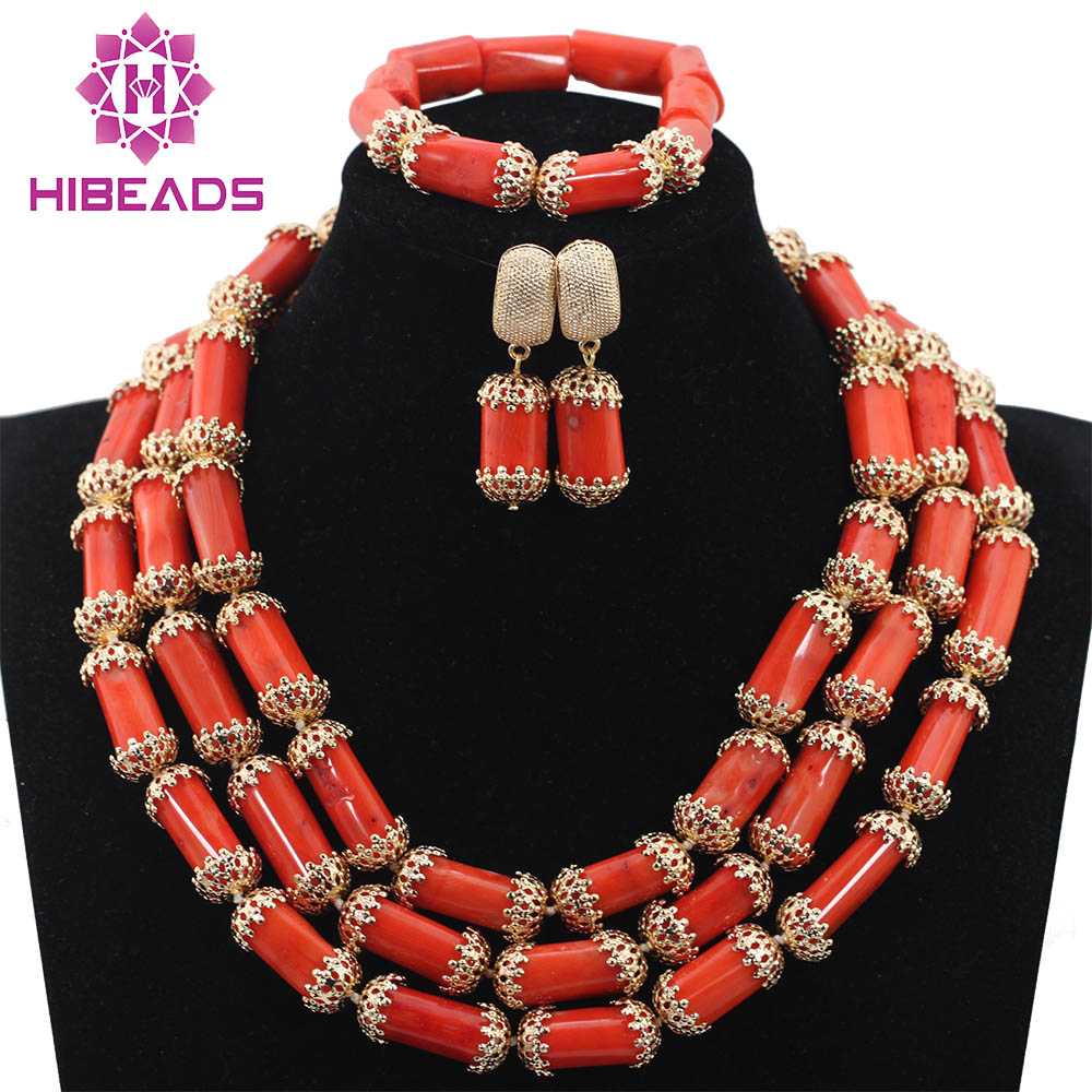 Natural Coral Beads Nigerian Wedding Jewelry Set Real Coral Beads Necklace Set Gift Jewelry Free ShippingABH155Natural Coral Beads Nigerian Wedding Jewelry Set Real Coral Beads Necklace Set Gift Jewelry Free ShippingABH155