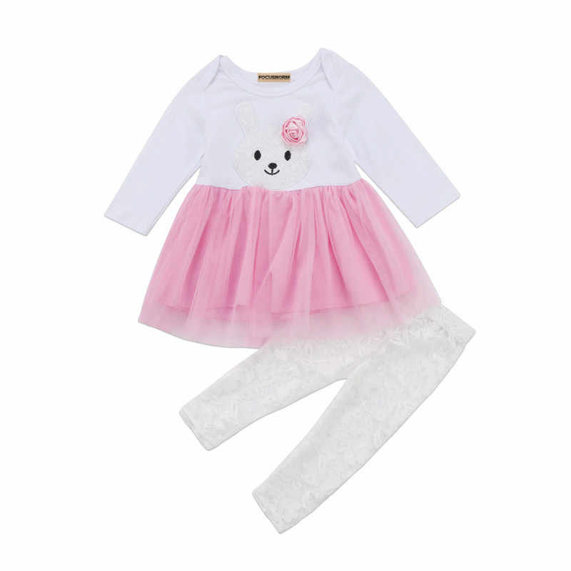 3a6e0ffdad0c Lovely Newborn Kids Baby Girls Flower Bunny Lace Tutu Dress Skirts Cotton  Tops Long Pants 2Pcs Toddler Outfits Set Clothes 0-3Y