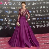 Blanca Suarez In Purple Long Sleeve Evening Gowns Woman Celebrity Dress Red Cerpet Dresses