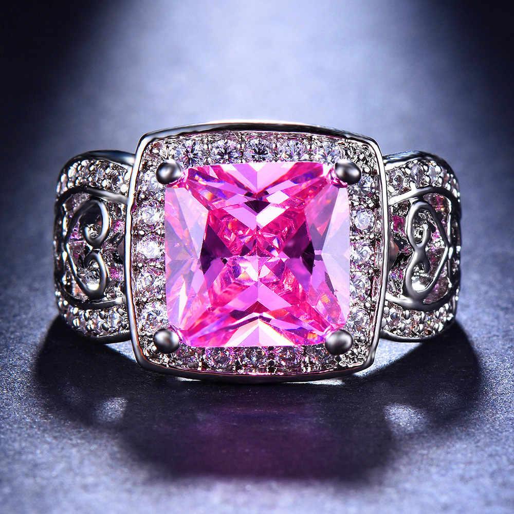 高級男性女性ビッグ紫、緑、ピンク石リングヴィンテージ 925 シルバー結婚指輪バンド婚約指輪新年ギフト
