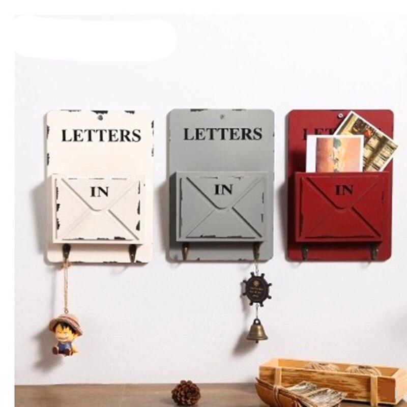 MIRUI деревянная коробка, настенный крючок для хранения, винтажная коробка с буквами, вешалка, держатель для букв с ключом, декоративные настенные полки, Органайзер
