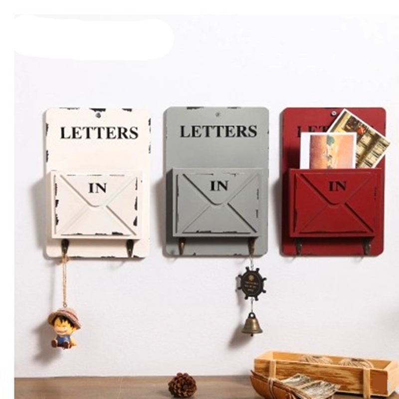 MIRUI Wooden Box Wall Storage Hook Vintage Letter Box Hanger Letter Rack Holder With Key Decorative Wall Shelves Organizador
