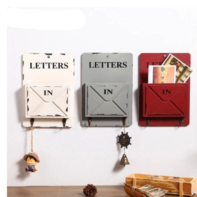 MIRUI Wooden Box Wall Storage Hook Vintage Letter Box Hanger Letter Rack Holder With Key Decorative Wall Shelves Organizador