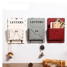 MIRUI חדש עץ תיבת קיר אחסון וו בציר מכתב תיבת קולב מכתב מתלה מחזיק עם מפתח דקורטיבי קיר מדפים Organizador