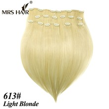 MRSHAIR Clip In Human Hair Extensions 8pcs/Set 18″ 20″ 22″ Full Head Brazilian No-Remy Hair Clip In Hair Extensions Blonde Hair