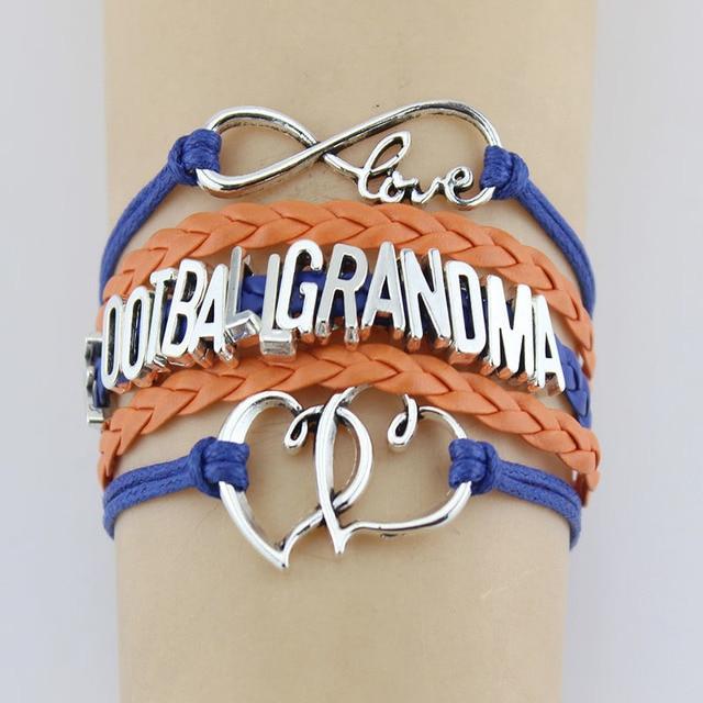 10 Pieces Lot Infinity Love Football Grandma Bracelets Heart Charm Handmade Rope Leather