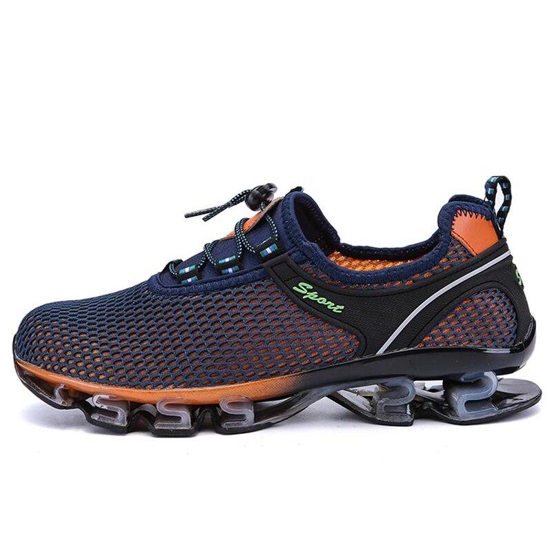 cinza Sapatos Chegada Nova Calçado Andando Macio 038 orange Respirável Homens Casual Adultos De Confortável Para 2018 Blue Tênis Do Luz Masculino Malha Xx Verão Bwpcqv5