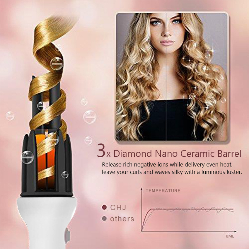 PURISS Professional Ceramic Automatic Curler 110-240V Hair Curling Iron 28mm Barrel Magic Spiral Hair Roller Curling Wand A