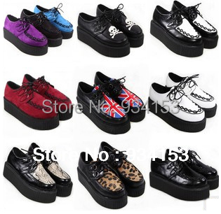 2013 Fashion Black Suede British Goth Punk Creepers Flats Hot Sale Lace up Skull American USA Flag Boat Shoes Summer Autumn