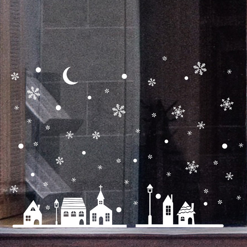 New Year Window Glass PVC Wall Sticker Christmas DIY Snow Town Wall Stickers Home Decal Christmas Decoration for Home Supplies #