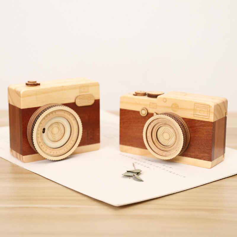 Деревянная музыкальная шкатулка Камера модель украшения дома аксессуары миниролики Music Box Рука замок коленчатый в небе Music Box