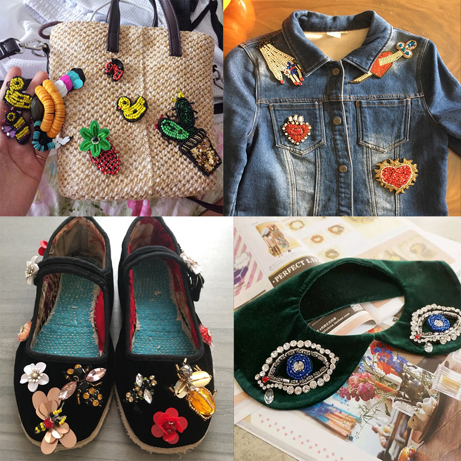 HTB1QAF3hGmgSKJjSsplq6yICpXaC Handmade Rhinestone beaded&sequin Patches, BEES COOL FASHION Sew on Crystal pearl patch for clothes beaded Applique cute patch