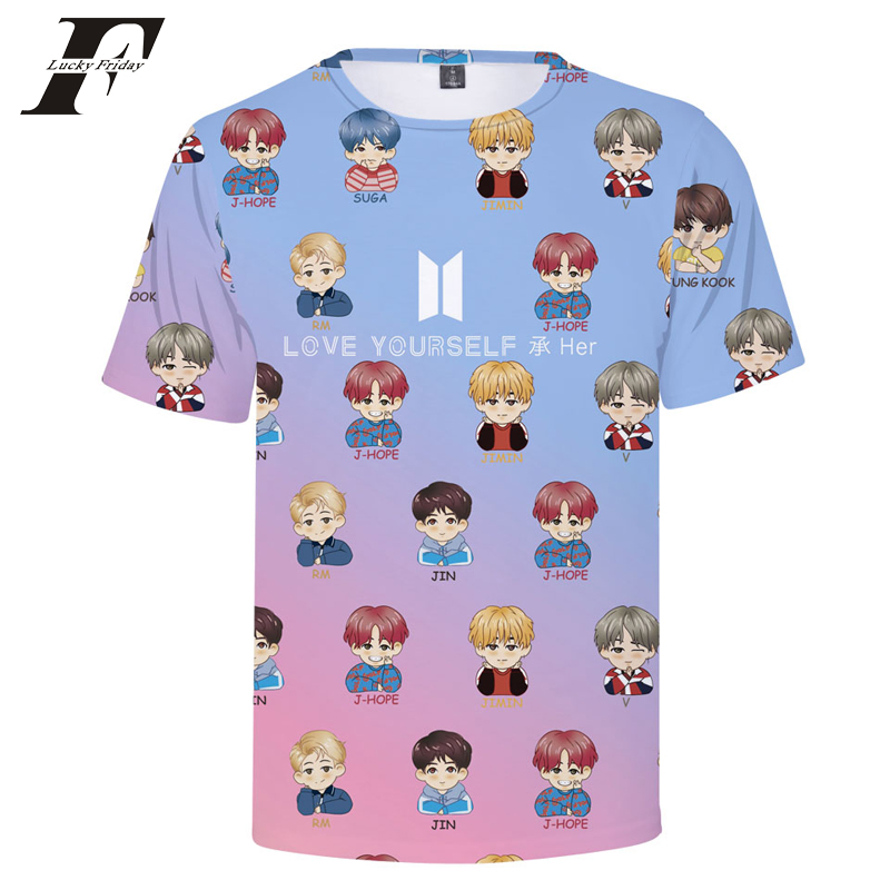 Intellective Luckyfridayf 2018 Bts 3d Print Bts Love Yourself Short Sleeve T-shirt Women Popular Hip Hop T Shirt Women Top Summer Cotton T-shirts Women's Clothing