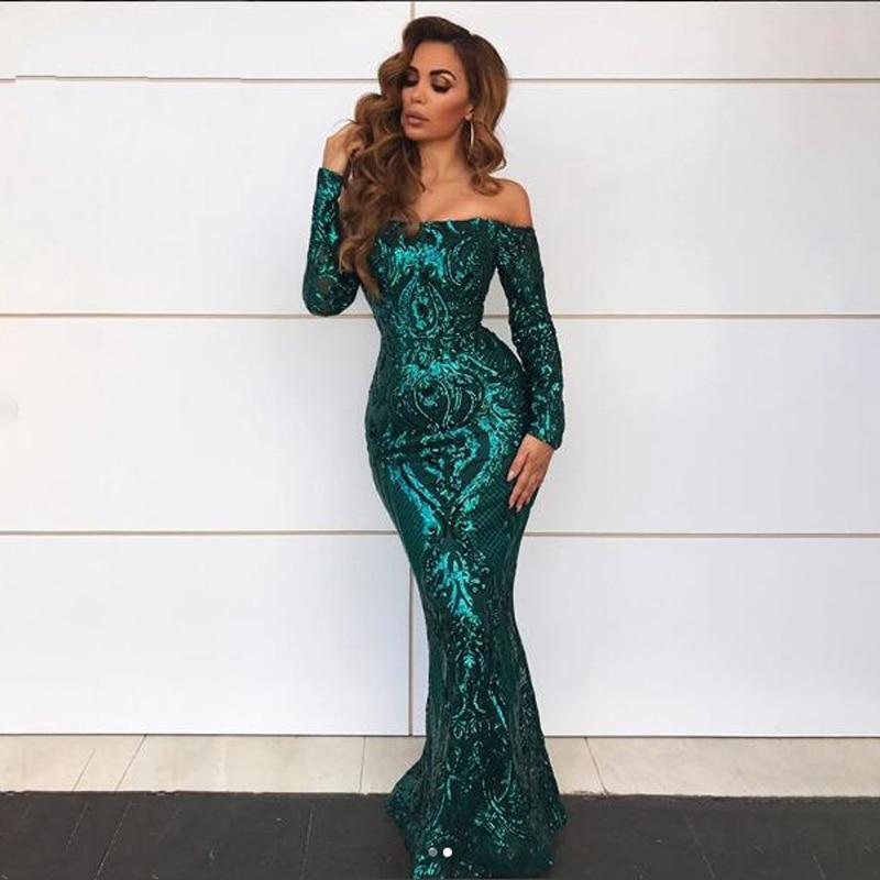 Vert Paillettes robe maxi es Outre De L'épaule Slash Cou robe de fête robe maxi élégante Hiver robe de soirée Paillettes Robe