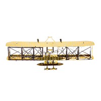 Gold Wright Flyer Jigsaw Puzzle DIY Assemble Scale Model 3D Metal Puzzle IQ Educational Toys Stainless