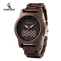 BOBO BIRD Men Wooden Watches Relogio Feminino Digital And Quartz Wristwatch Timepieces Dual Display Watch R02 DROP SHIPPING