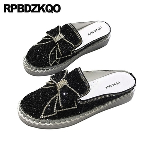 Image 5 - Diamond Mules Crystal Japanese Slippers Muffin Black Silver Platform Bling Women Flats Shoes With Little Cute Bowtie Creepers