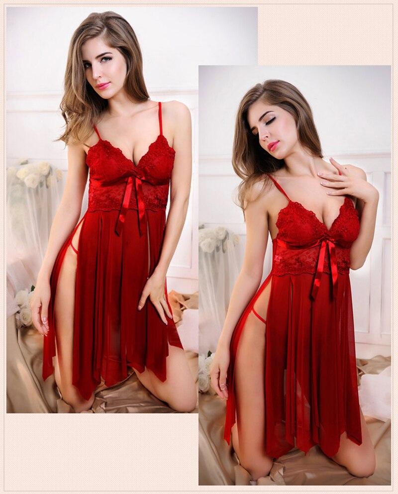 HTB1QAFKhsnI8KJjSsziq6z8QpXaQ Women Nightgown Hot Nightwear Sexy Lingerie Lace Slits Nightdress V-neck Nightie Vintage Sleepwear Female Pijama embroidery
