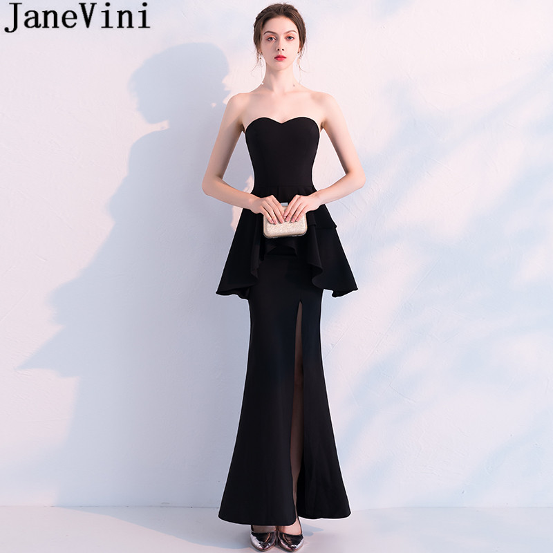 JaneVini Fashion Black High Split Prom   Dress   Long Peplum Mermaid   Bridesmaid     Dresses   Sexy Sweetheart Floor Length Party Gowns