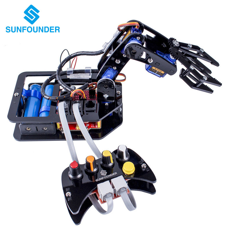 SunFounder Electronic Diy Robotic Arm kit 4 Axis Servo Control Rollarm with Wired Controller for Arduino