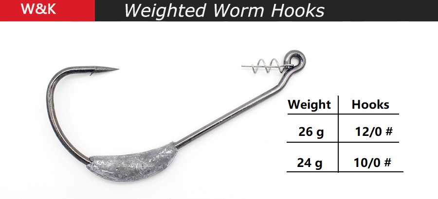 100 x Red Fishing Offset G Hook Wide Gap Weedless Worm Hook Pike Perch Drop Shot
