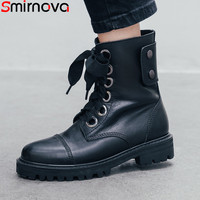 Smirnova 2020 fashion ankle boots for women round toe genuine leather boots med heels shoes black classic motorcycles boots