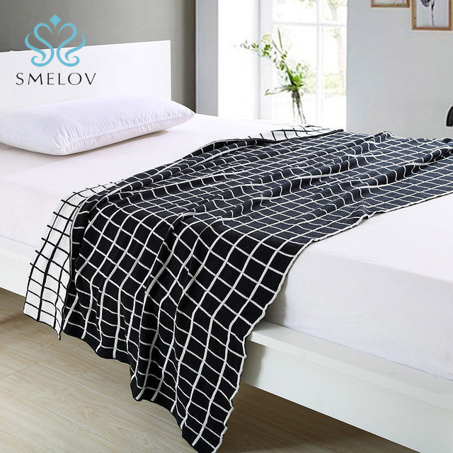 Smelov New Handmade Geometric Patterned Cotton Wool Knitted Thread Extraordinary Patterned Blanket