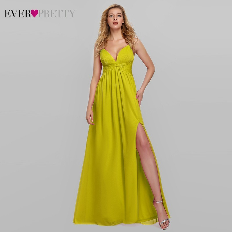 Yellow Long Prom Dresses 2019 Ever Pretty EP07882 A-Line V-Neck Spaghetti Straps Elegant Women Formal Dresses Vestidos De Gala