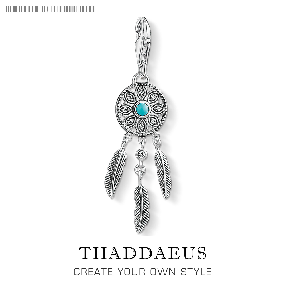 Charm Pendant Blue Dreamcatcher Ethno,2018 Brand New Thomas Jewelry For Women Trendy Gift In 925 Sterling Silver Fit BraceletCharm Pendant Blue Dreamcatcher Ethno,2018 Brand New Thomas Jewelry For Women Trendy Gift In 925 Sterling Silver Fit Bracelet