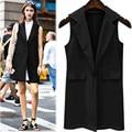 Vest Jacket Women 2016 Fashion Autumn Sleeveless Blazer Button Black&White Female Tops Outerwear Work Wear Long Waistcoat