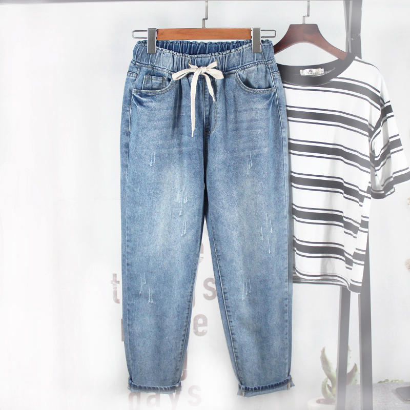 Vintage Denim Jeans Women Harem Pants Loose Plus Size Boyfriend Jeans For Women Elastic Streetwear High Waist Mom Jeans Q1499