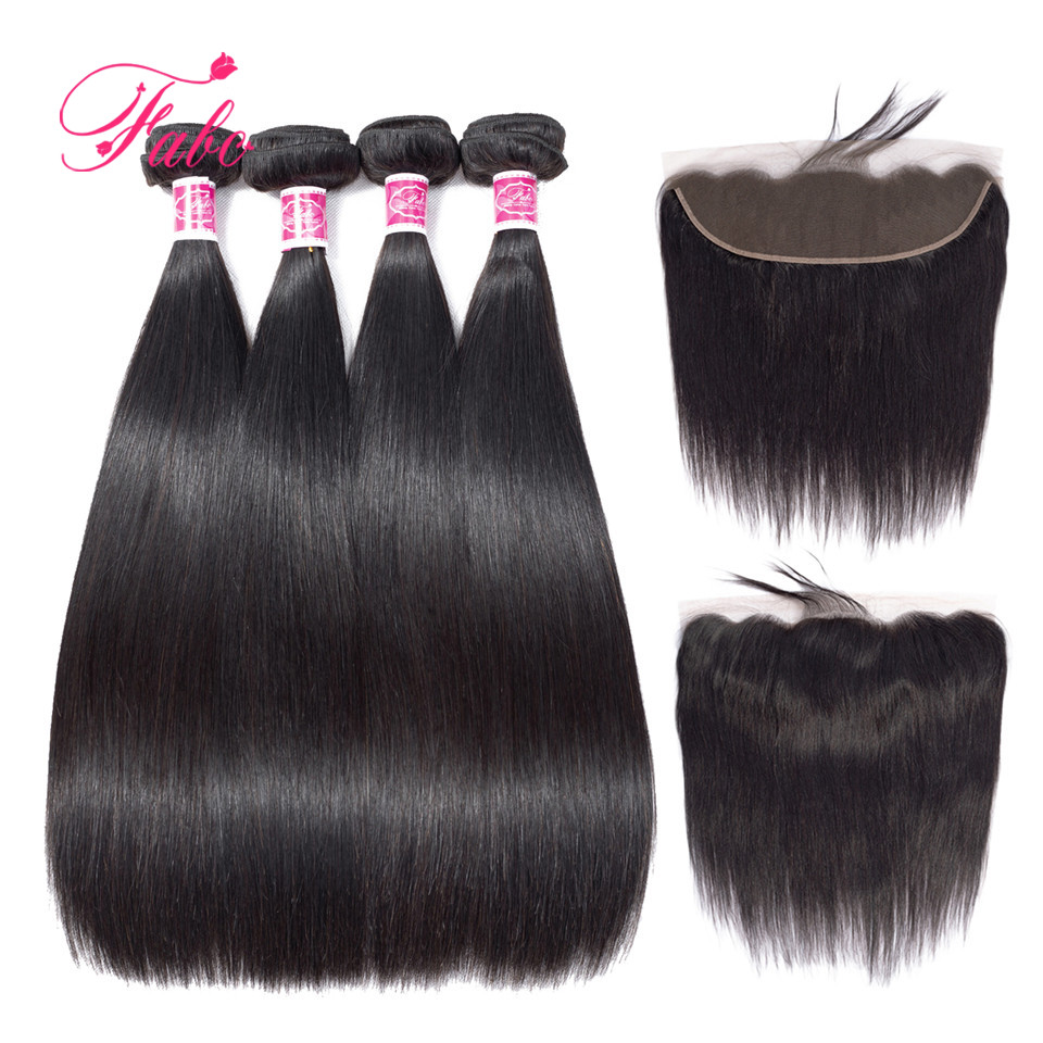 FABC Hair brazilian straight hair 3 or 4 bundles with lace closure 13*4inch lace frontal non remy human hair weave bundles