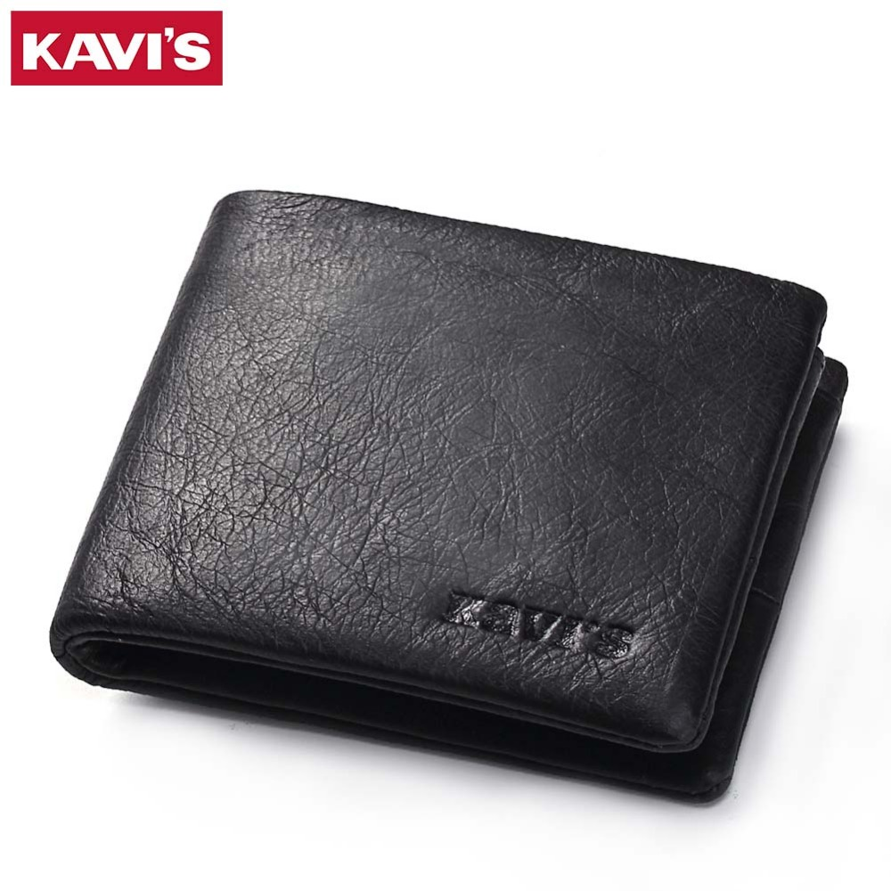 KAVIS Genuine Leather Wallet Men Mini Walet Pocket Coin Purse Portomonee Small Slim PORTFOLIO Male Perse Rfid Fashion Vallet Bag kavis genuine leather wallet men coin purse with card holder male pocket money bag portomonee small walet portfolio for perse