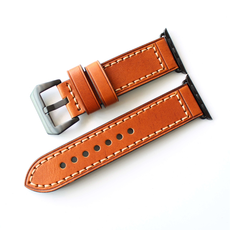 TJP Top Quality Red Brown Genuine leather 38mm 42mm Apple Watch Series 1 2 Watchband iwatch Strap Bracelet With Adapter kakapi crocodile skin genuine leather watchband with connector for apple watch 38mm series 2 series 1 pink