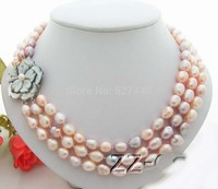 Wholesale fast 3Strds Multi Color Baroque Pearl Necklace-Cameo Clasp AAA