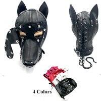 Leather Dog Bdsm Mask Bondage Restraints Hood Cosplay Mask Slave Dog Head Harness Fetish Flirting Sex Toys For Woman bdsm Toys