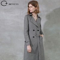 C+IMPRESS Trench Coat Quality Woman 100%Linen Black White Plaid Long Sashes Slim Double Breasted Casual Outerwear