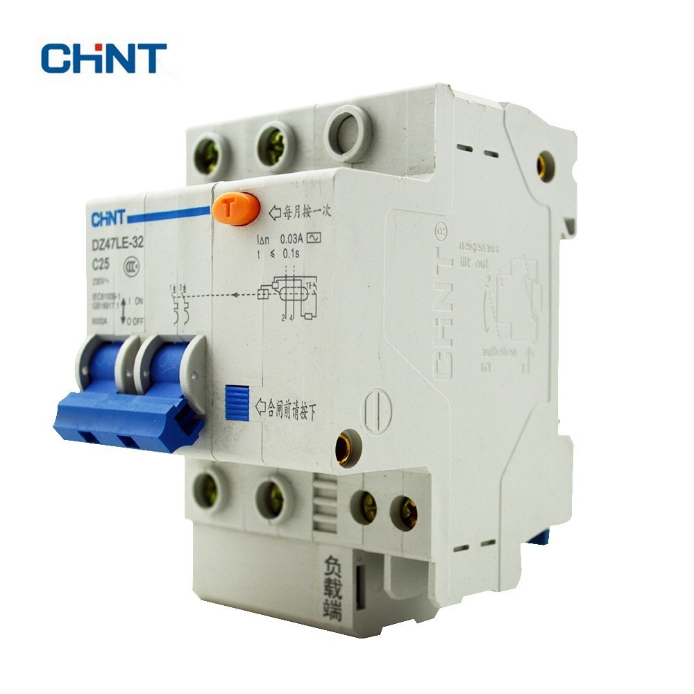 CHINT Earth Leakage Circuit Breaker DZ47LE-32 2P C25 chint dz47le 32 3p c25a 30ma earth leakage circuit breaker residual current operated circuit breaker