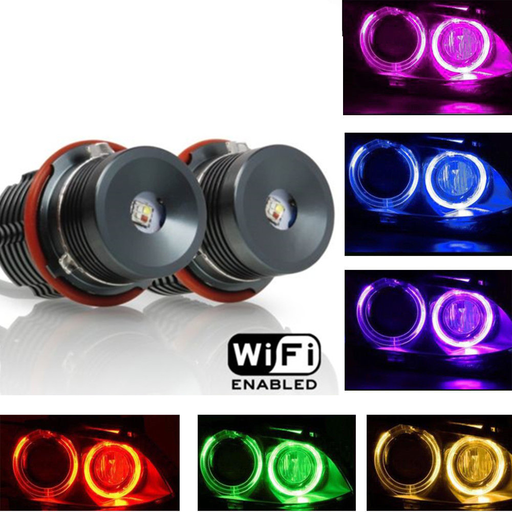 Million colors changing wifi RGB FOR BMW E60 LED angel eyes led marker lights canbus for BMW E39 E53 E61 E63 E64 E65 E66 E87 free sgipping latest new 12v 20w led marker car angel eyes bulb for bmw e39 e53 e61 e64 e65 e66 e87 led headlight bulbs