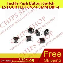 1 лот = 50 шт. Тактильные кнопочный Настенные переключатели четыре Средства ухода за кожей стоп 6*6*4.3 мм DIP-4 топ приводом черный seriestc-6615