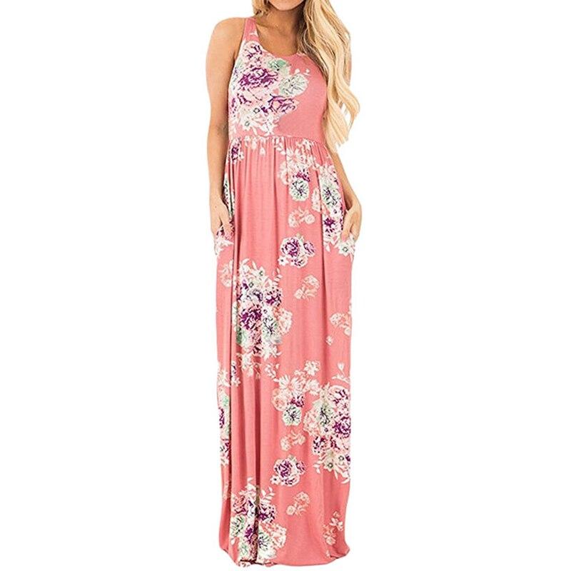 Long Maxi Summer Boho Dress 2018 Women Floral Print Elegant O-Neck Sleeveless Loose Beach Dress Casual Girls Evening Party Dress