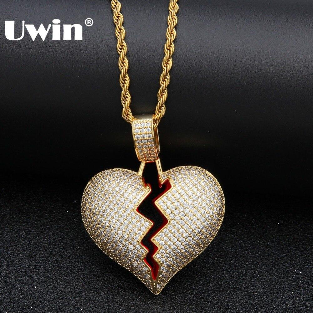 Uwin heló hacia fuera el corazón quebrado COLLAR COLGANTE Zirconia cúbico oro plata Color con cuerda cadena joyería regalos para hombres mujeres