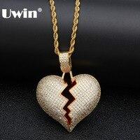 Uwin iced para fora quebrado coração colar pingente zircônia cúbica ouro prata cor com corda corrente hiphop jóias presentes para homens|Corrente| |  -