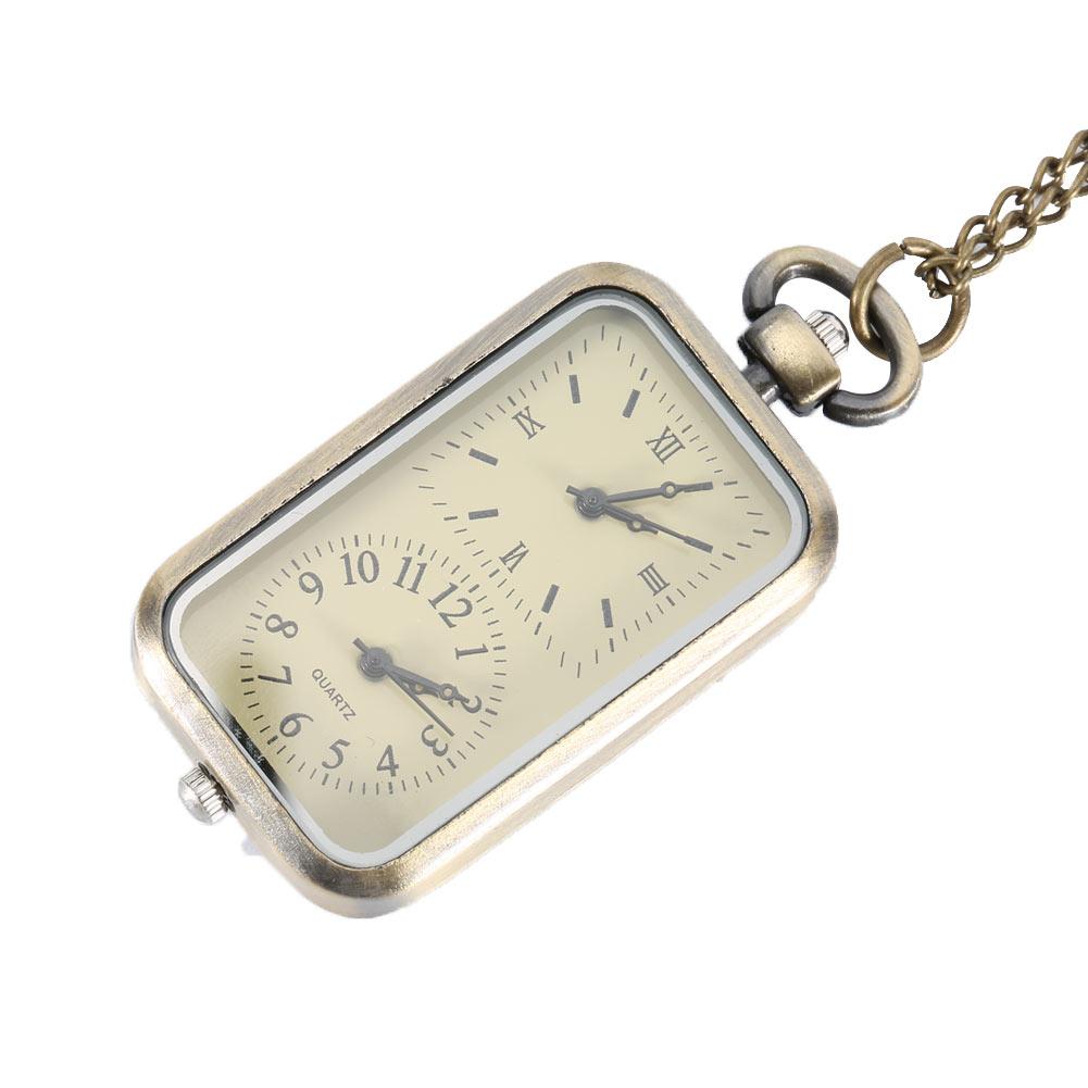 f5268e482a7 Steampunk montre de poche Double Double fuseau horaire mouvement collier  chaîne horloge Rectangle cadran Vintage Quartz montres LL   17 dans Poche    Fob ...